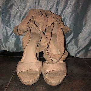 Blush suede platform heels